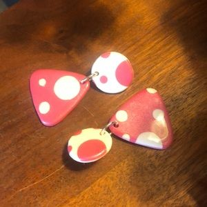 Pink&White Polka Dot Earrings